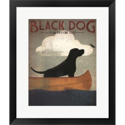 Black Dog Canoe Framed Print Wall Art
