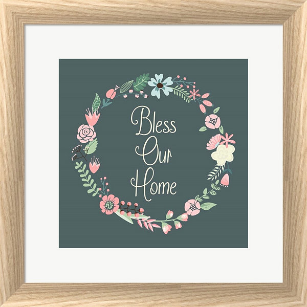 Metaverse Art Bless Our Home Floral Framed Print Wall Art