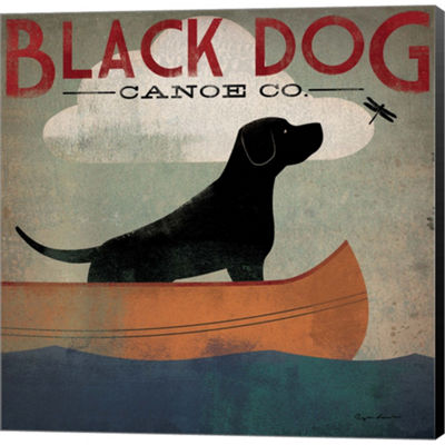 Metaverse Art Black Dog Canoe Gallery Wrapped Canvas Wall Art
