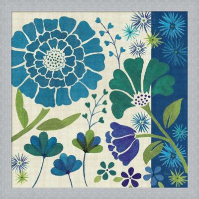 Metaverse Art Blue Garden II Framed Print Wall Art