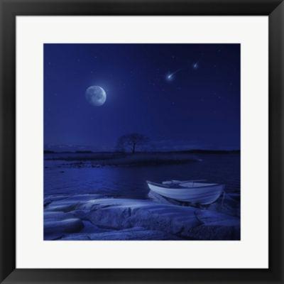 Metaverse Art Boat Under Starry Sky Finland FramedPrint Wall Art
