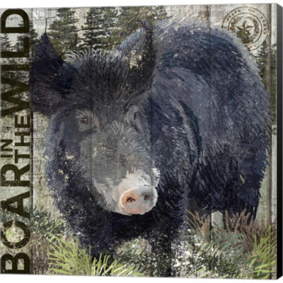 Boar In The Wild Gallery Wrapped Canvas Wall Art On Deep Stretch Bars