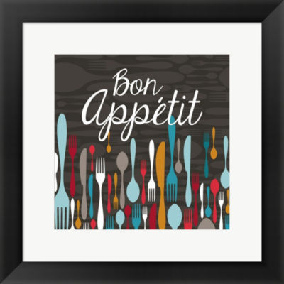 Metaverse Art Bon Appetit Cutlery Grey Framed Print Wall Art