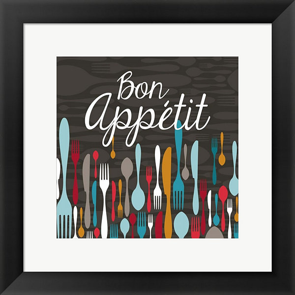 Bon Appetit Cutlery Grey Framed Print Wall Art