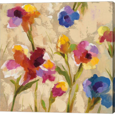 Metaverse Art Bold Bright Flowers II Gallery Wrapped Canvas Wall Art