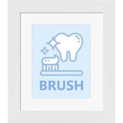 Metaverse Art Boy's Bathroom Task-Brush Framed Print Wall Art