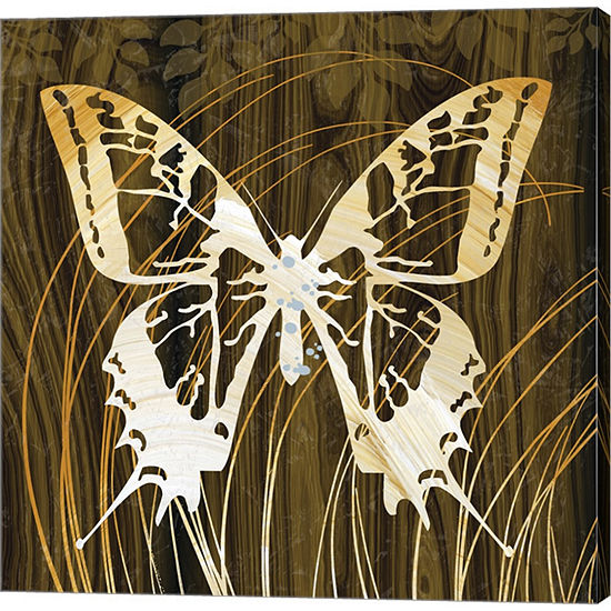 Metaverse Art Butterflies & Leaves I Gallery Wrapped Canvas Wall Art