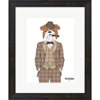 Metaverse Art British Bulldog In Tweed Suit FramedPrint Wall Art