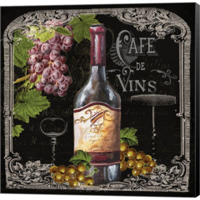 Cafe De Vins Wine I Gallery Wrapped Canvas Wall Art On Deep Stretch Bars