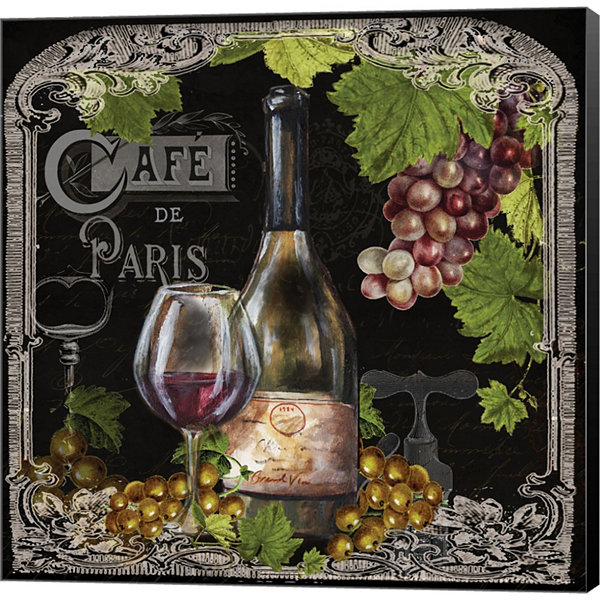 Cafe De Vins Wine II Gallery Wrapped Canvas Wall Art On Deep Stretch Bars