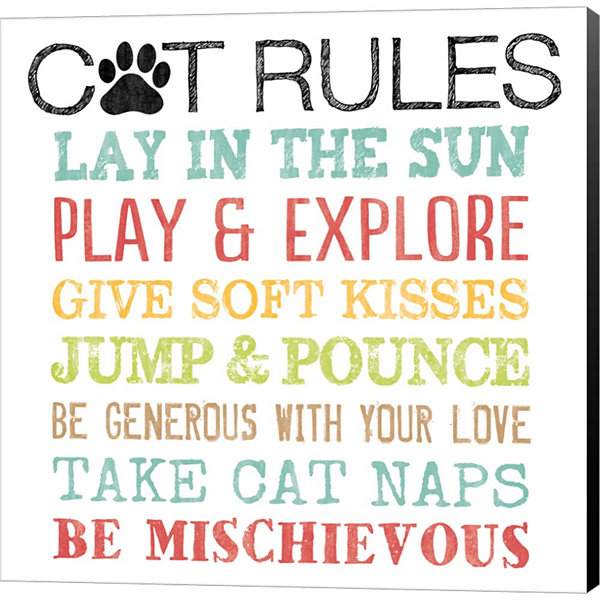 Cat Rules Gallery Wrapped Canvas Wall Art On DeepStretch Bars