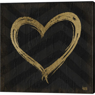 Metaverse Art Chevron Sentiments Gold Heart Trio II Gallery Wrapped Canvas Wall Art