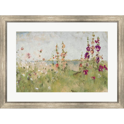 Metaverse Art Hollyhocks By The Sea Framed Print Wall Art