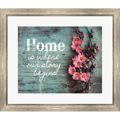Metaverse Art Home Is Where Our Story Begins PinkFlowers Framed Print Wall Art