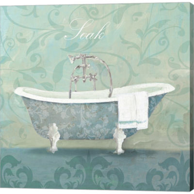 Metaverse Art Damask Bath Tub Gallery Wrapped Canvas Wall Art