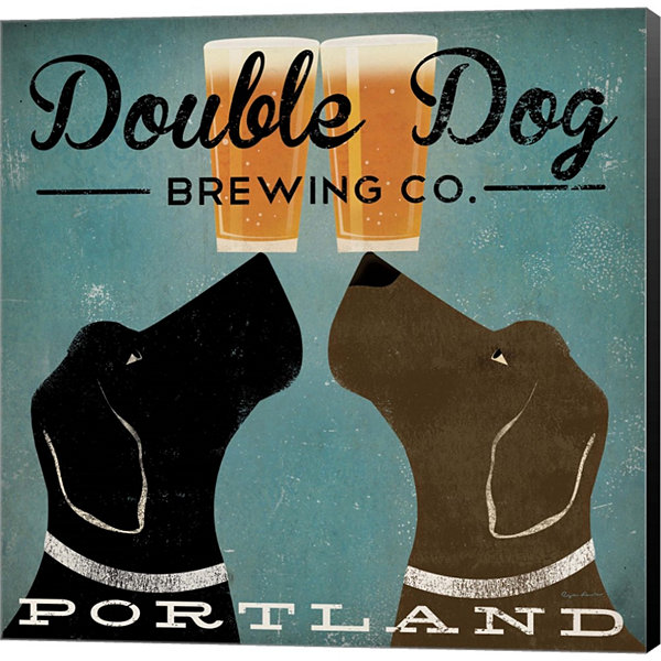 Double Dog Brewing Co. Gallery Wrapped Canvas WallArt On Deep Stretch Bars