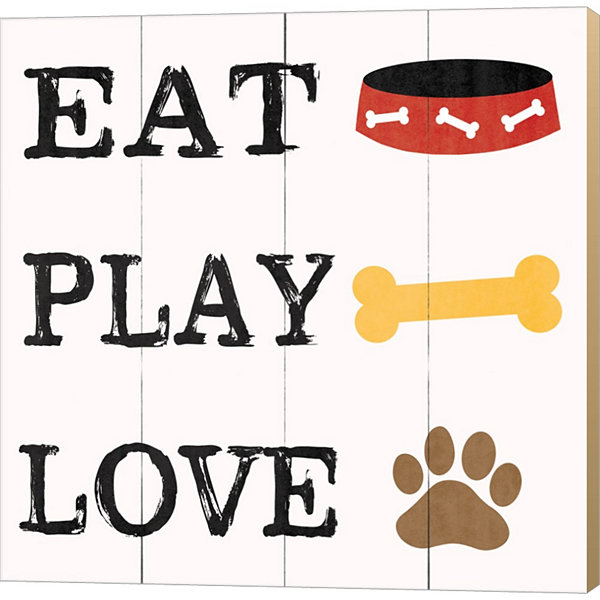 Metaverse Art Eat Play Love Dog 2 Gallery WrappedCanvas Wall Art