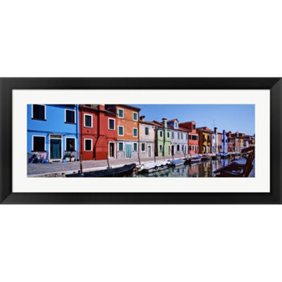 Metaverse Art Houses At The Waterfront Burano Venetian Lagoon Venice Italy Framed Print Wall Art