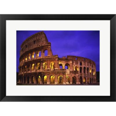 Coliseum A Night  Colosseum Rome Italy Framed Print Wall Art