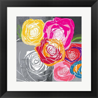 Metaverse Art Colorful Roses I Framed Print Wall Art