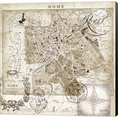 Euro Map II - Rome by Tre Sorelle Studios GalleryWrapped Canvas Wall Art On Deep Stretch Bars