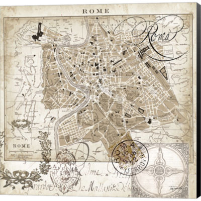 Metaverse Art Euro Map II Rome Gallery Wrapped Canvas Wall Art