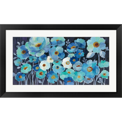 Metaverse Art Indigo Flowers Framed Print Wall Art