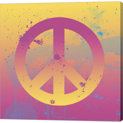 Metaverse Art Far-Out Peace Gallery Wrapped CanvasWall Art