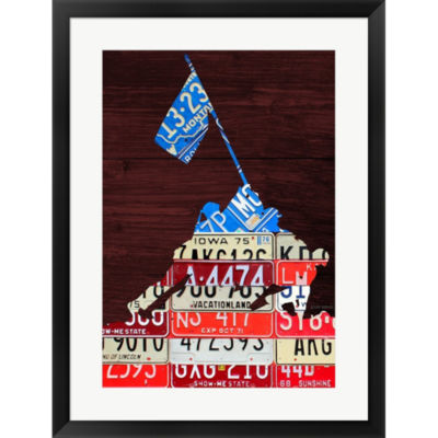Metaverse Art Iwo Jima License Plate Framed PrintWall Art