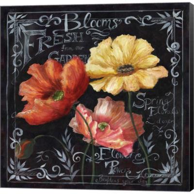 Flowers In Bloom Chalkboard II by Tre Sorelle Studios Gallery Wrapped Canvas Wall Art On Deep Stretch Bars