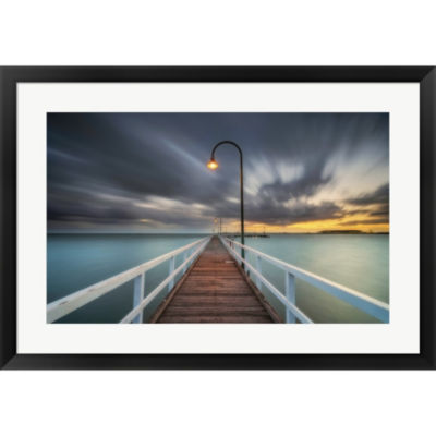 Metaverse Art Lagoon Pier Framed Print Wall Art