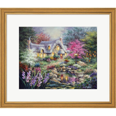 Metaverse Art Cottage Pond Framed Print Wall Art