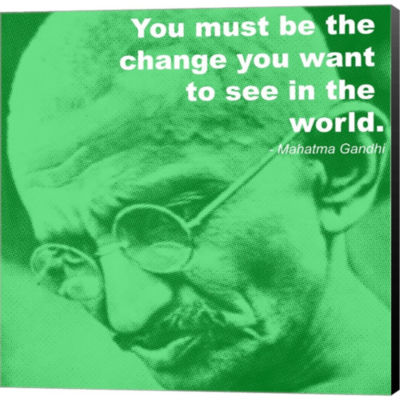 Metaverse Art Gandhi - Change Quote Gallery Wrapped Canvas Wall Art