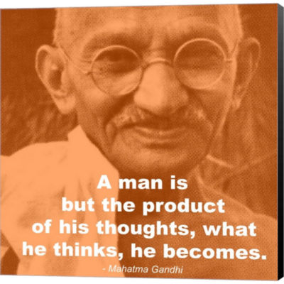 Metaverse Art Gandhi - Thoughts Quote Gallery Wrapped Canvas Wall Art