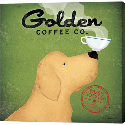 Golden Dog Coffee Co. Gallery Wrapped Canvas WallArt On Deep Stretch Bars