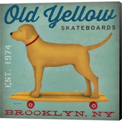Metaverse Art Golden Dog On Skateboard Gallery Wrapped Canvas Wall Art