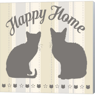 Metaverse Art Happy Home Cats Gallery Wrapped Canvas Wall Art