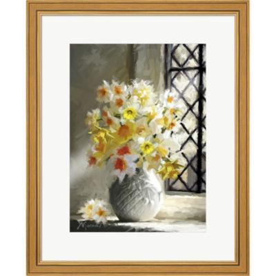 Metaverse Art Daffodils At Window Framed Print Wall Art