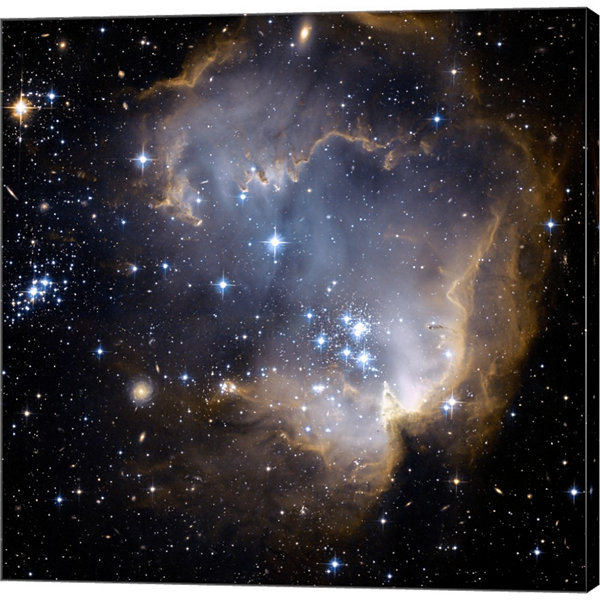 Hubble Observes Infant Stars In Nearby Galaxy Gallery Wrapped Canvas Wall Art On Deep Stretch Bars