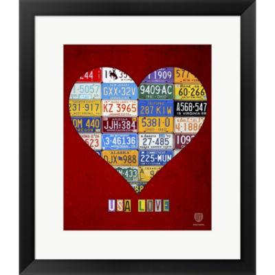 Metaverse Art License Plate Art Heart Framed PrintWall Art