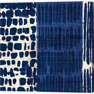 Indigo Batik I Gallery Wrapped Canvas Wall Art OnDeep Stretch Bars