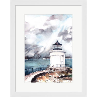 Metaverse Art Lighthouse Framed Print Wall Art