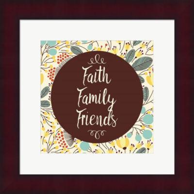 Faith Family Friends Retro Floral Framed Print Wall Art