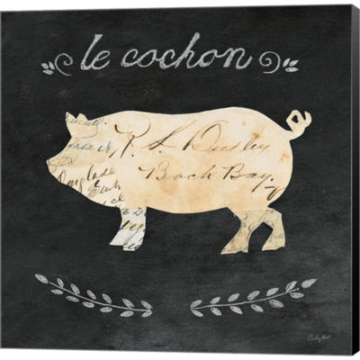 Le Cochon Cameo Sq Gallery Wrapped Canvas Wall ArtOn Deep Stretch Bars
