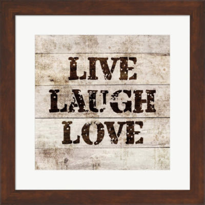 Metaverse Art Live Laugh Love In Wood Framed PrintWall Art