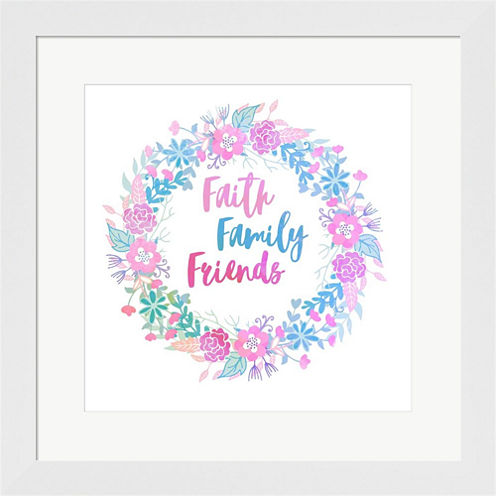 Faith Family Friends-Pastel Framed Print Wall Art