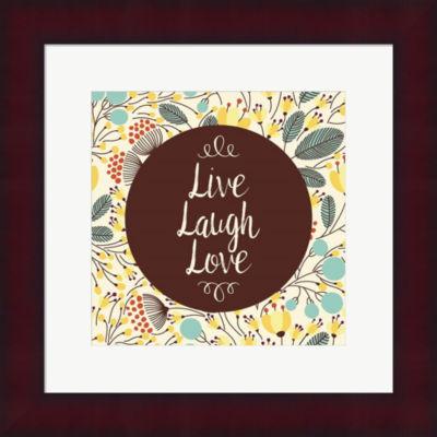 Live Laugh Love Retro Floral Framed Print Wall Art