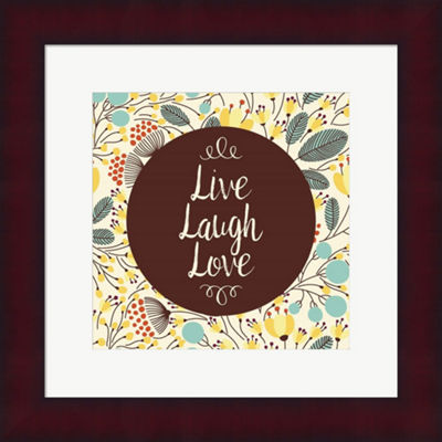 Metaverse Art Live Laugh Love Retro Floral FramedPrint Wall Art