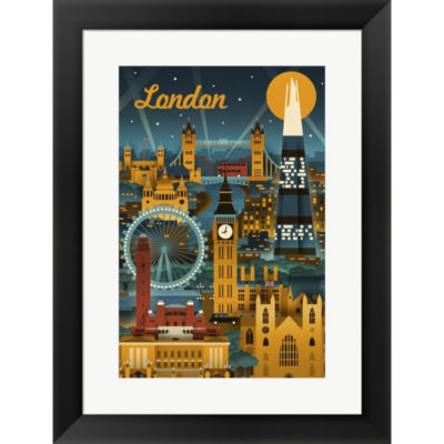 Metaverse Art London Evening Ferris Wheel Framed Print Wall Art