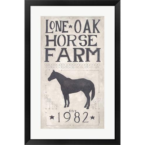 Lone Oak Horse Farm Framed Print Wall Art